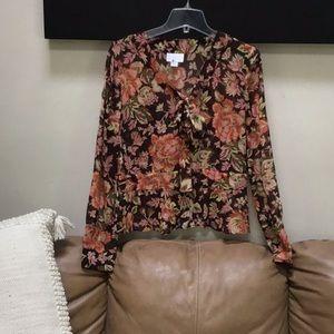Ann Taylor loft floral blouse career wear size 12